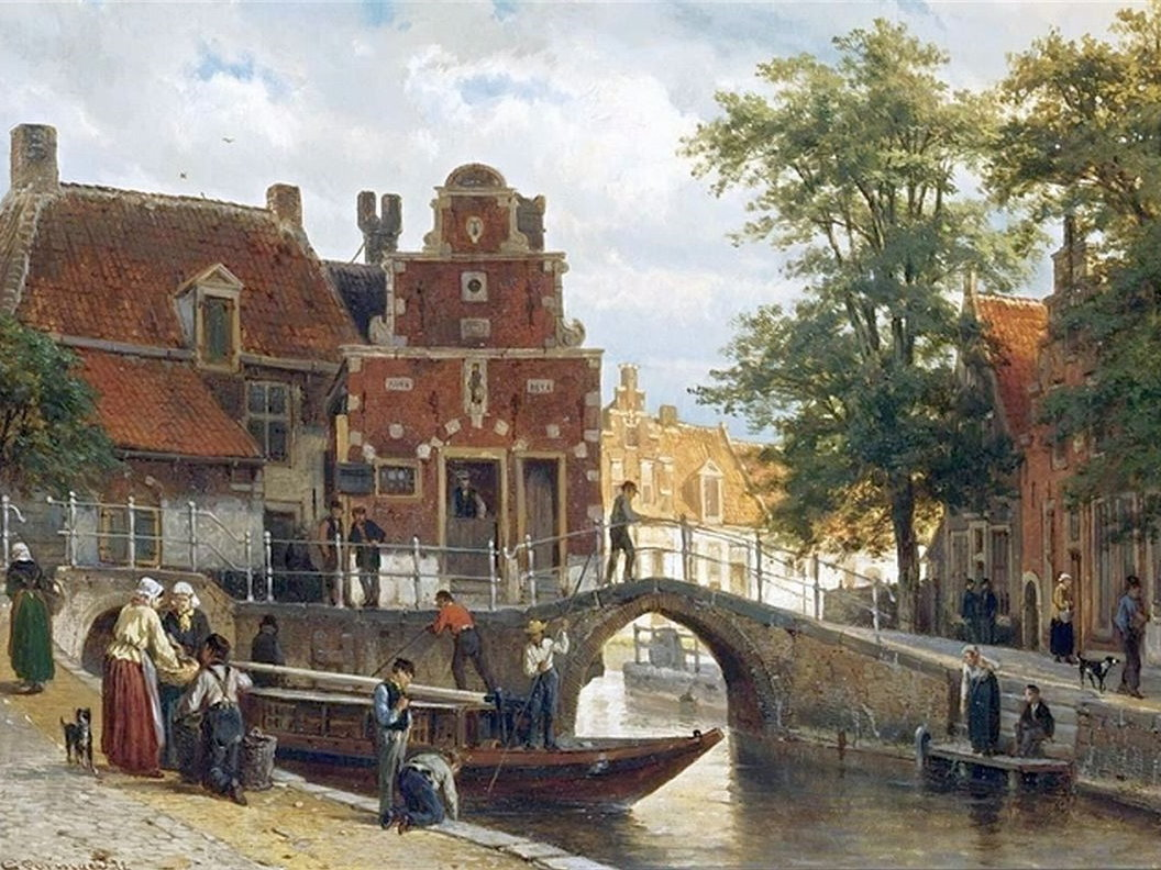 Cornelis Springer - A View of Franeker with the Zakkendragershuisje